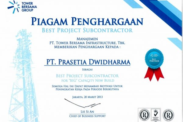 TBG 2013_Best Project Subcontractor for BIG Capacity New Build